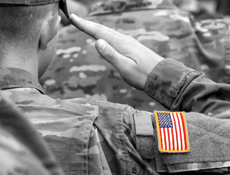 Image of saluting soldier facing away from the viewer